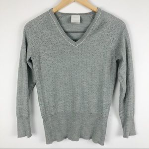 Nike Golf Gray perforated Vneck wool blend sweater